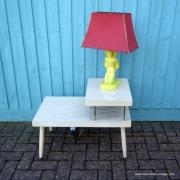 1950's American Blonde Faux Wood Side Table 1