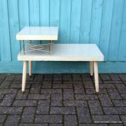 1950's American Blonde Faux Wood Side Table 10