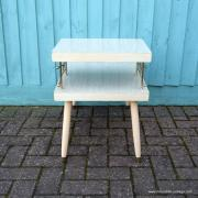 1950's American Blonde Faux Wood Side Table 12