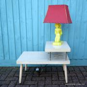 1950's American Blonde Faux Wood Side Table 16