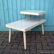 1950's American Blonde Faux Wood Side Table 7