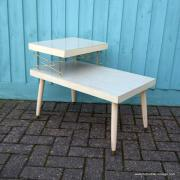 1950's American Blonde Faux Wood Side Table 9