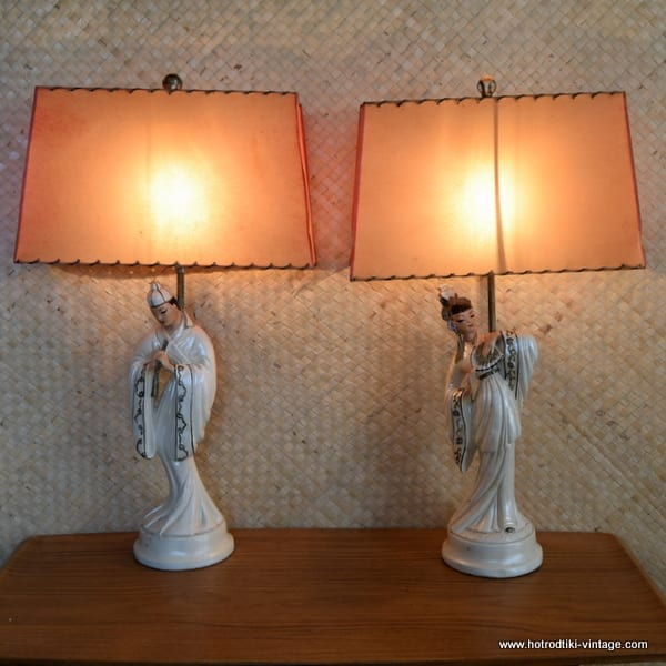 1950's Roma Art Pair of Oriental Figure Table Lamps 1