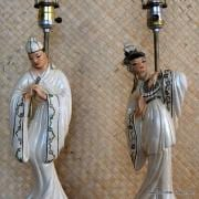 1950's Roma Art Pair of Oriental Figure Table Lamps 3