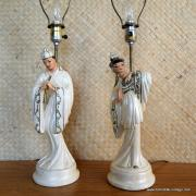 1950's Roma Art Pair of Oriental Figure Table Lamps 6