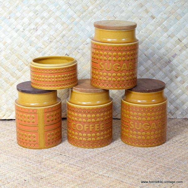 1970's Hornsea Saffron 4 Storage Jars and Bowl 1