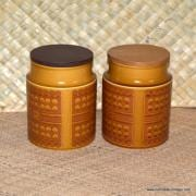 1970's Hornsea Saffron Pair of Storage Barrels 3